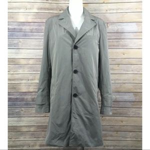 Cole Hann Trench Rain Coat Button Front Pockets